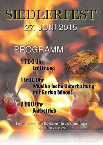 Plakat zum Siedlerfest 2015 am 27. Juni 2015